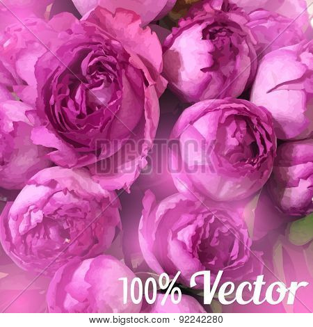 Vector card with peony roses. Wedding, greeting or birthday card design.
