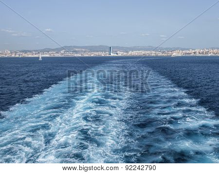 Wake Of The Tunisian Ferry Leaving Marseilles