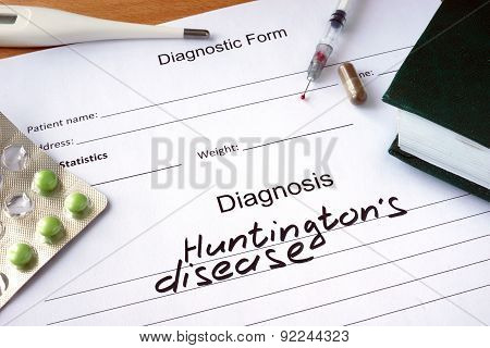 Diagnostic form with Diagnosis Huntington disease.