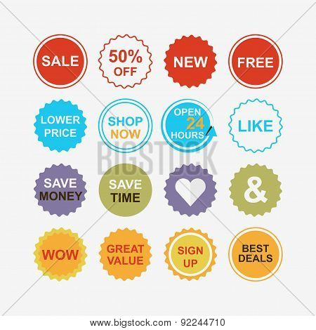 Colorful retail and shopping attention tags icons set