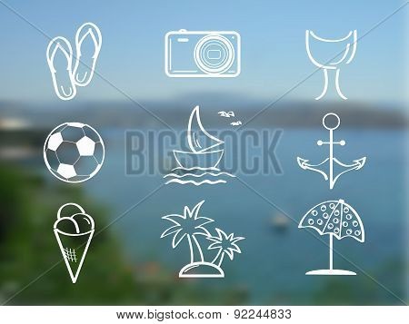 Summer and travel icon set on abstract blurred sea background. Travel design. Vector illustration.