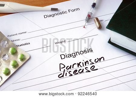 Diagnostic form with Diagnosis Parkinson disease.
