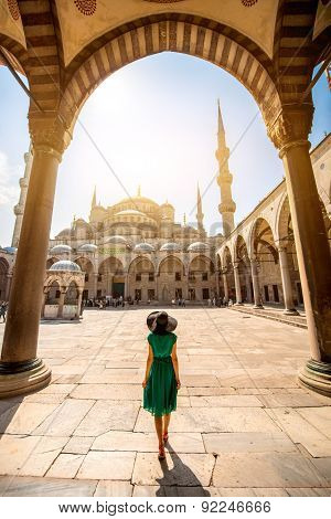 Woman near the Blue Mosque in Istanbul