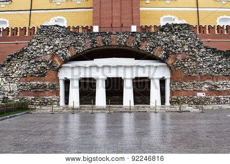 MOSCOW,RUSSIA -Grotto Ruins in Alexander Garden