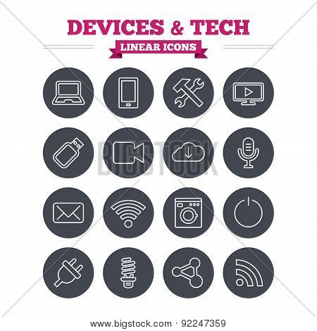 Devices and technologies linear icons set. Thin outline signs. Vector