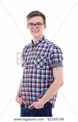 Portrait Of Handsome Teenage Boy Isolated On White