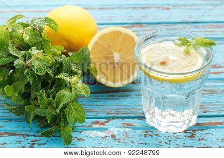 Lemon Soda Mint Fresh Drink Summer  Still Life Blue Background
