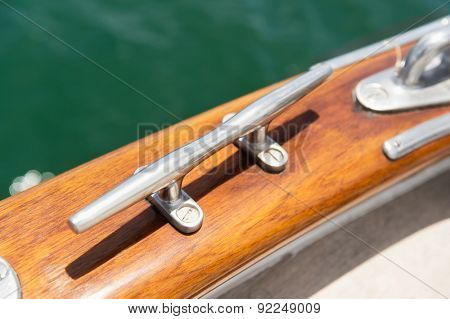 Close-up of cleat on sailing yacht