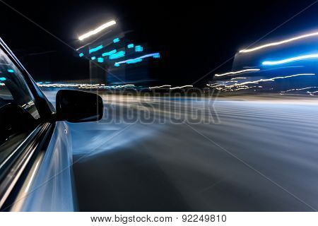 View from Side of Car Going Around Corner, Blurred Motion