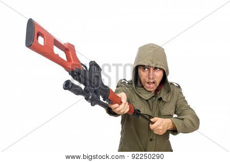 Man with a gun isolated on white