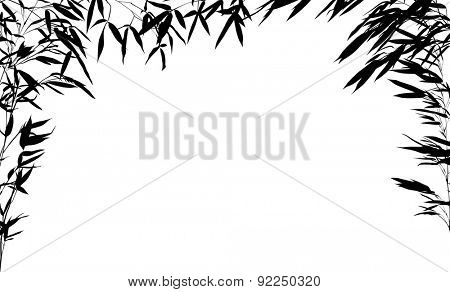 illustration with bamboo half frame isolated on white background