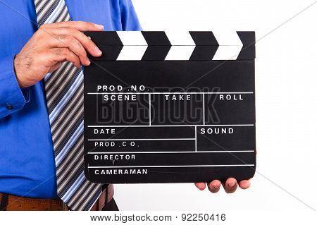 Man Holding Blank Film Clapper