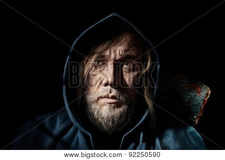 Artistic Portrait Old Man, Of Mysterious  Wanderer In The Hood
