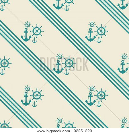 seamless pattern of anchor helm