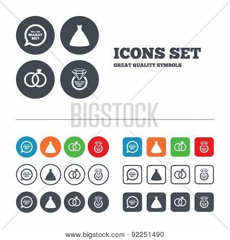 Wedding dress icon. Bride and groom rings symbol