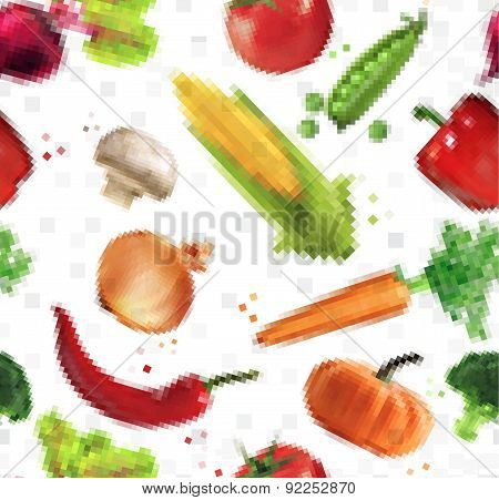 Pattern pixel vegetables