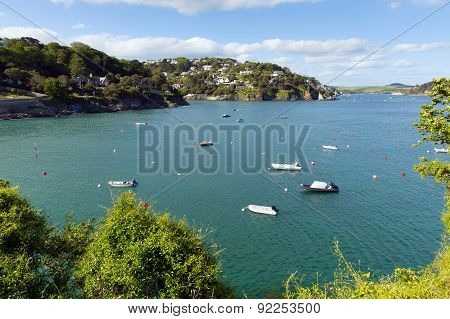 Salcombe Devon south west England UK on the Kingsbridge Estuary blue sea and sky