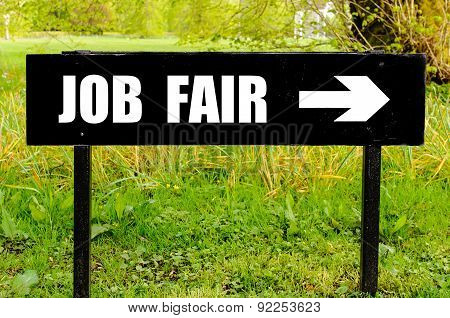 Job Fair Written On Directional Black Metal Sign