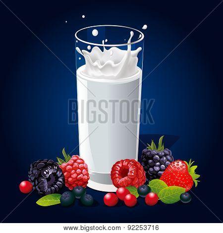 Glass Of Milk With Splash And Fruit On Dark Background