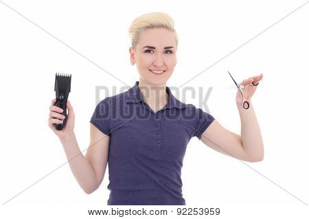 Happy Young Beautiful Woman Hair Stylist With Hair Trimmer And Scissors Isolated On White