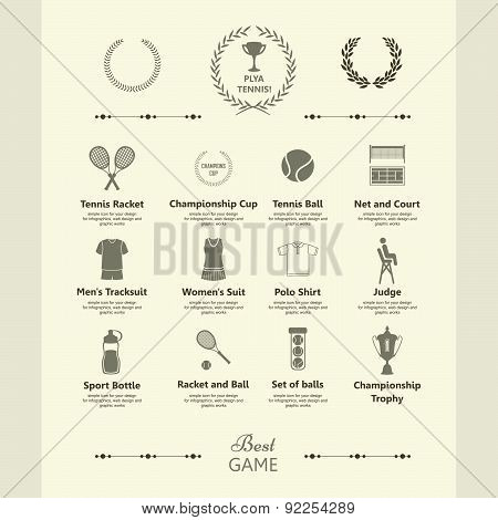 Sports Objects. Set Of Tennis Icons.