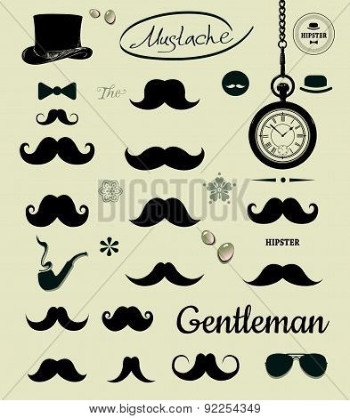 Vector Illustration  With Silhouettes Of Different Shapes Mustache.