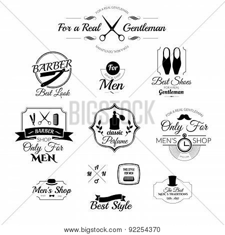 Set Of Vintage Barber Shop Logo, Badges And Design Element.