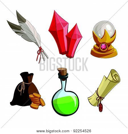 Vector Illustration With Game Icons. For Computer Games.