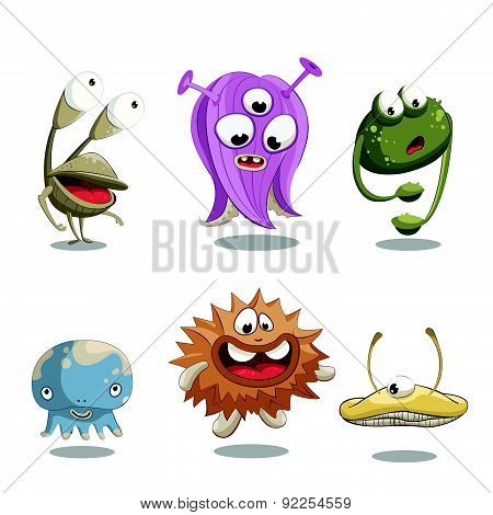 Stock Vector Illustration With Funny Little Monsters.