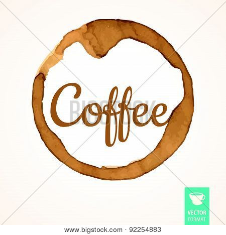 Vector Illustration Of Coffee Stains With Logo.
