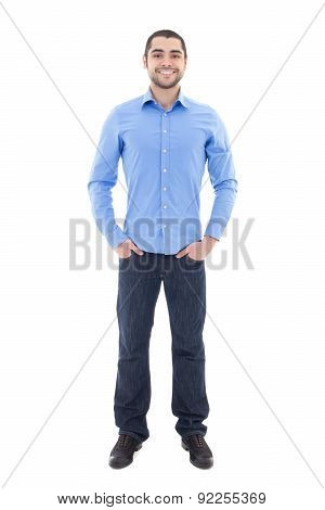 Smiling Handsome Arabic Business Man In Blue Shirt Isolated On White
