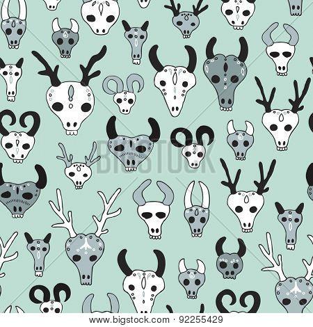 Seamless western cowboy animal garden skull illustration desert theme vintage background pattern in vector
