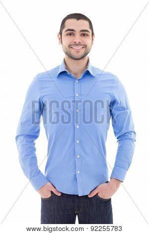 Handsome Arabic Business Man In Blue Shirt Isolated On White