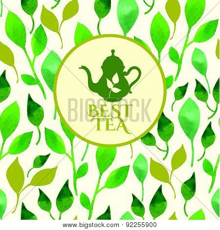 Vector Beautiful Illustration With Teapots Logo On Leaf Background.