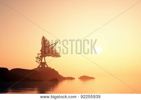 Radar on a sunset background.