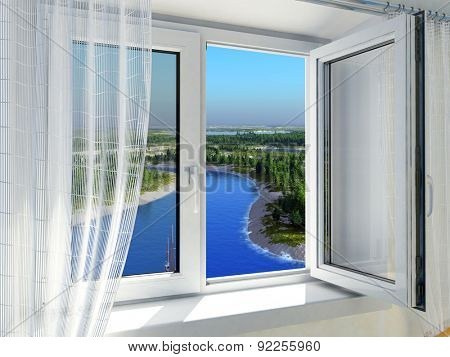 Open window with a view of nature.