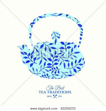 Vector Beautiful Illustration Of Teapot With Watercolor Pattern.