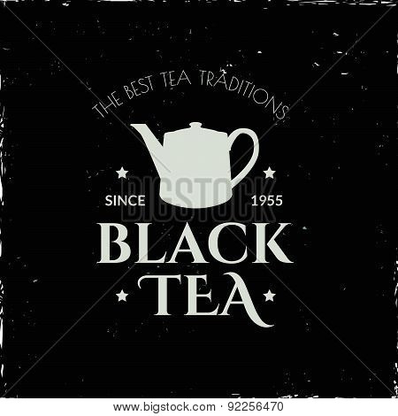 Illustration On A Blackboard On Theme Tea With Simple Symbol.