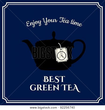 Vector Illustration  With Teapot On Dark Blue Background.
