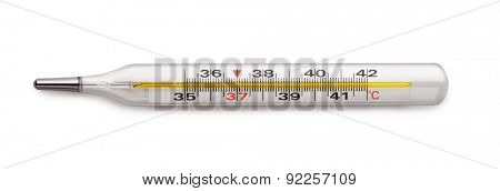 Medical mercury thermometer isolated on white