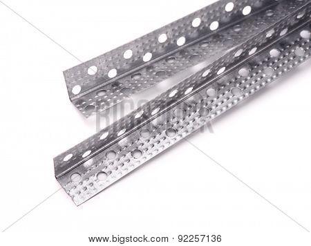 Aluminum perforated corner bead on white background