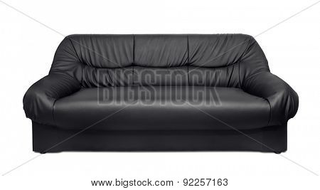 Black leather sofa isolated on white