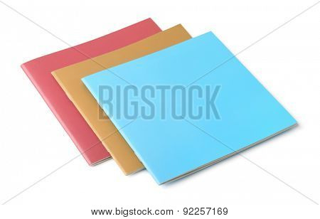Three blank brochures isolated on white