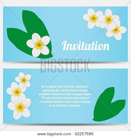 Invitation with tropical plumeria on a blue background