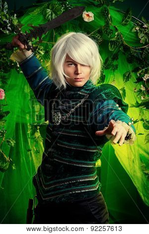 Noble blond elf with a sword in his hand in the magic forest. Fantasy. Anime style.