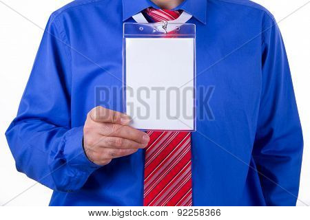 Businessman Showing His Name Tag