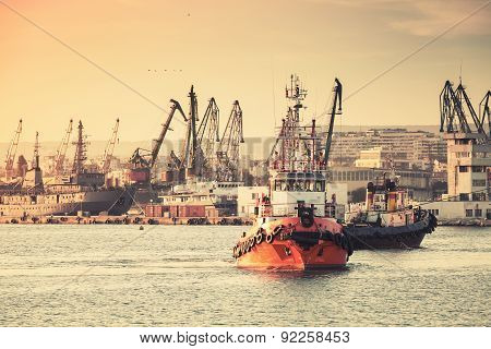 Tug Boats Are Working In Varna Harbor. Black Sea