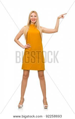 Pretty girl in ochre dress isolated on white