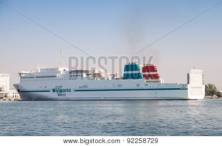 Big White Cargo Ship Moored In Fish Port Of Burgas