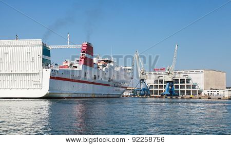 Big White Cargo Ferry Moored In Fish Port Of Burgas